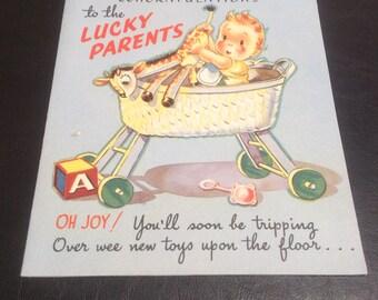 Vintage baby congratulations card ( unused )