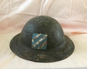 """Antique WWI World War 1 -US Army 3rd Division """"Marne"""" Authentic HELMET - 1917 Steel Historic Uniform Doughboy Regulars- American History"""