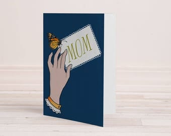Printable Mother's Day Hand with Note Victorian Butterfly