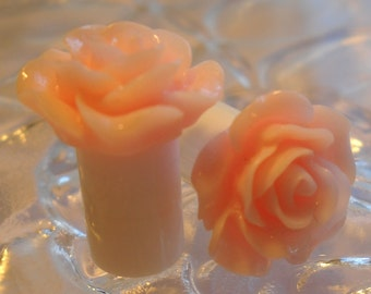 0g Plug, 00g Plug, 0g Rose Plug, 00g Rose Plug, Pink Rose Plug, Acrylic Plug