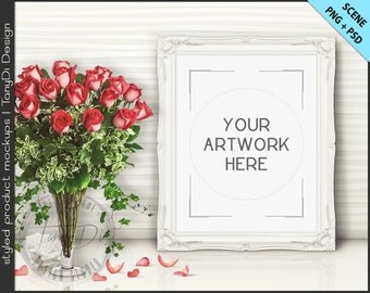 Frame on White Table with Red Roses Styling | 8 PNG scene | Empty 8x10 Frame Styled Mockup T6 | Portrait Landscape White Black Ornate Frame