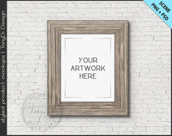 Wide Light & Dark Wood Frame 8x10 Mockup | 4 PNG scene | Empty Frame on Brick Wall Styled Mockup W9 | Portrait Landscape Frame