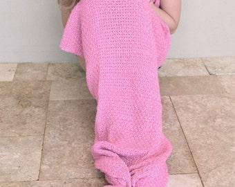 Kids Rose Pink Crocheted Mermaid Tail Blanket, Kids Mermaid Tail Throw,Fish Tail, Pretty in Pink