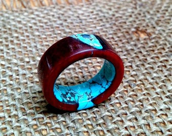 Marbled Iron Wood Ring. 10mm Wide.