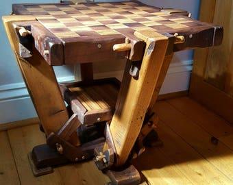 Wooden rustic Walnut Oak & Zebrano chess table