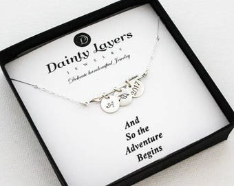 and so the adventure begins / Class of 2017 Necklace / 2017 Graduation Gift/ High School Graduation Necklace / Personalized Graduation Gift