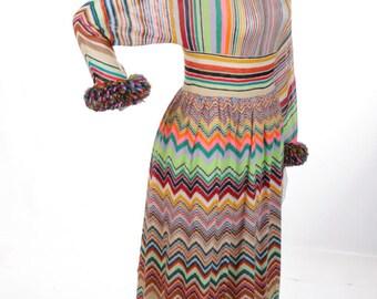 FREE US SHIPPING Striped Vintage Maxi Dress