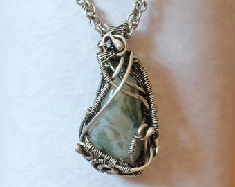 Silver Necklace - Handmade Woven Silver Pendant with polished moss agate Handmade Oxidised Silver Chain  - Viking style