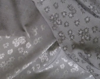Silver Floral Embossed Satin Fabric