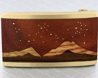 Brass Belt Buckle, Wood Inlaid Moon Belt, Mountain Belt Buckle, Nature Belt Buckle, Inlay Mountain Scene