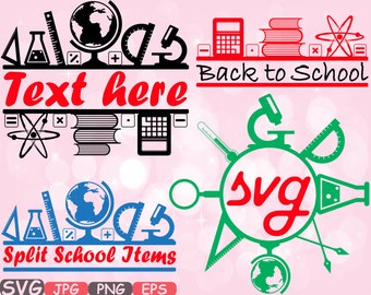 Split & Circle Back to School Cutting Files SVG Cutting files clipart Silhouette Welcome Back School science education Vinyl Vector -619s