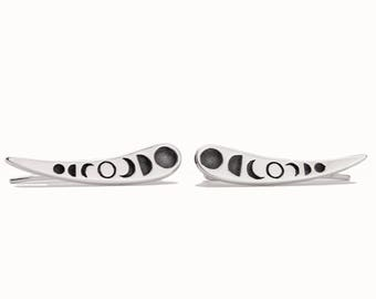 Silver Ear Cuff Moon Phases Ear Climber Pin Earrings Boho Jewelry - FES030SSO