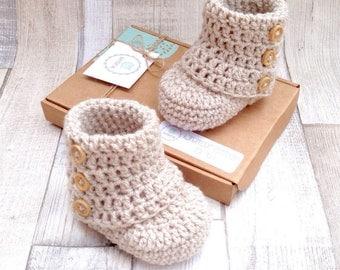 Unisex booties, crocheted booties, gender neutral baby booties, photo prop, baby shower, newborn 0-3 3-6, beige booties,  baby shoes,