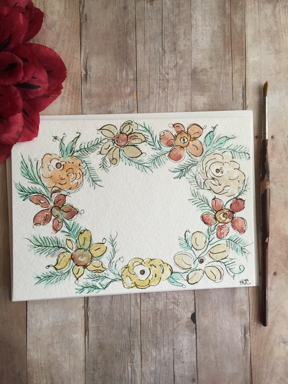 Hand Painted Watercolor Flower Wreath Card, Original Watercolor Card, Homemade Greeting Card