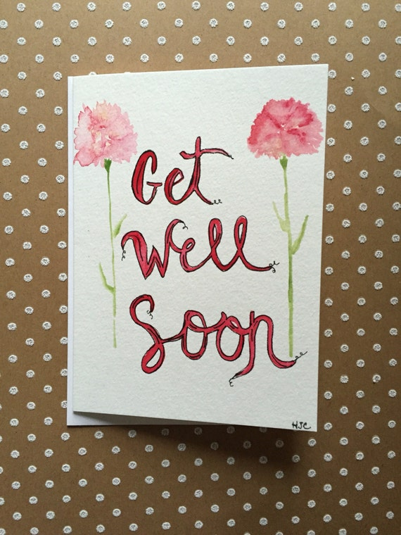 Get Well Soon Card, Hand Painted Get Well Card,