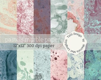 Pastel marble DIGITAL PAPER- Handmade marble paper in pastel colors, for scrapbooking, book covers, card making