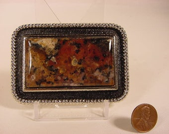 Vintage Old Collectible * Belt Buckle * Polished Stone