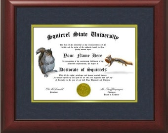 Personalized SQUIRREL Diploma - We Print Any Name You Want!  Sciuridae - Chipmunk - Red Squirrel - Grey Squirrel - Unique Gift Idea