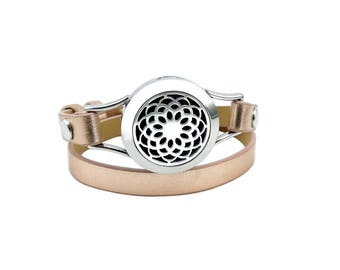 NEW Essential Oil Diffuser lotus leather wrap bracelet- ROSE GOLD