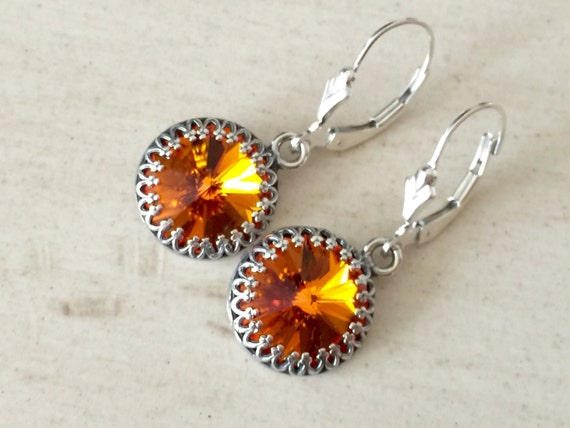 Tangerine Crystal Earrings, Sterling Silver