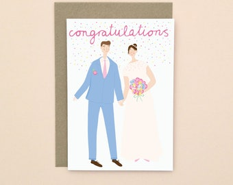 Illustrated Wedding Greetings Card A6