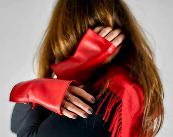 Red Leather Gloves gift for her short gloves spring2017 fingerless leather mittens Ladies Arm Warmers Car driving Street Style Birthday Gift