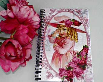 Blank Notebook Journal Altered Art Book Pin Floral Original Art Cover Diary Victorian Child Girl VIntage Style Notepad Artwork
