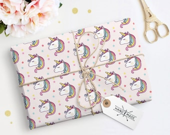 Gift Paper printable, Unicorn Wrapping Paper, Pink Unicorn Paper, Kids Gift Paper, Gift Wrap Paper, Instant Download Paper