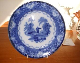 Antique Watteau Flow Blue plate