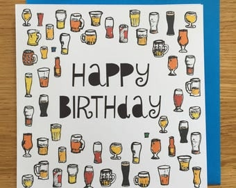 Birthday card/ happy birthday card/ beers