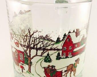 Libbey Clear Glass Coffee Mug Cup Winter Scene Snow Village Sleigh Holiday Xmas Mugs, Cups, Kitsch, Christmas Table Decor, Drinkware