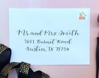 Calligraphy Envelope Addressing for Wedding Invitations- Custom Hand lettered Stationery Formal Modern Addressed Envelope Script Lettering