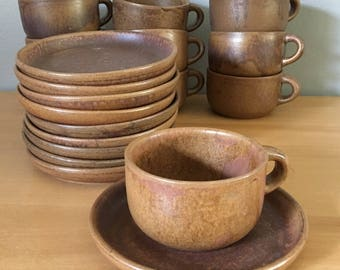 Stunning set of 10 studio ceramic coffee cups & matching saucers / plates matte drip glazed an earthy brown for a Boho or Jungalow home!