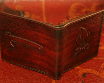 Leather Wallet - Bushcraft Outdoor Camping - Hand tooled Bifold