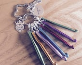 Mini Crochet Hooks Crochet on the go Emergency Crochet Kit Personalised Keyring Keychain Crochet Queen