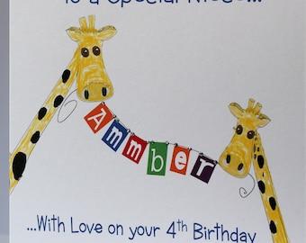 Personalised HandmadeGiraffeBirthday Card.Daughter, Son, Grandson Granddaughter, Niece, Nephew, Sister,Friend 1st 2nd 3rd 4th 5th 6th 7th