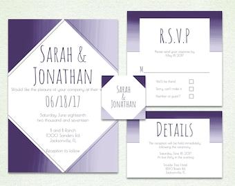 Ombre Brush Strokes Wedding Invitation Suite
