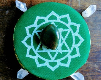 Heart Chakra Crystal Grid, Bloodstone, Quartz