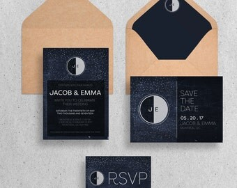 Moon and Stars Wedding Stationary Suite