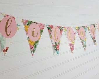 Antique Vintage Floral Triangle Bunting Name Banner, First Birthday Party, Tea Party Decorations, Tea for Two, Baby Shower, Bridal Shower