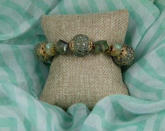 Green and Gold Toned Bracelet - fits a 6-3/4 inch wrist or smaller - FREE SHIPPING