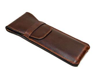 Chestnut Leather Pen Holder, Triple Pen Holder, Leather Pen Case, 3Pen Holder