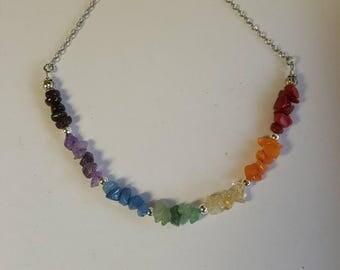Chakra Choker Chakra Necklace Silver Choker Seven Chakra Choker Necklace Healing Crystal Gemstone Crystal Necklace Boho Hippie Gypsy Rainbow