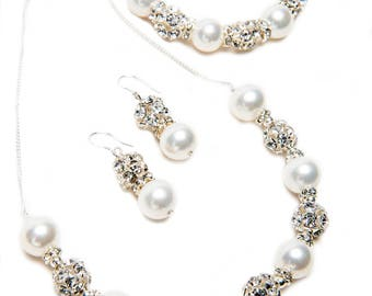 South Sea Pearl and Rhinestone Necklace, Bracelet, and Earrings