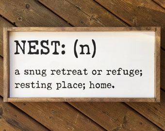Nest Definition Framed Wood Sign, Custom Home Decor, Typewriter Font Farmhouse Style Sign, Gallery Wall Hanging