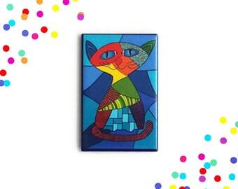 Cat magnet, fridge magnet, magnet, refrigerator magnet, magnets, button magnet, cat lover, one of a kind, kitchen decor,  kitchen decoration
