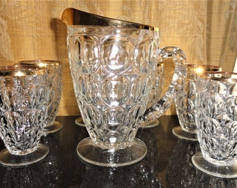 Vintage Retro 7 Pc. Jeanette Glass Thumbprint Gold Tone Trim Pitcher and Tumblers