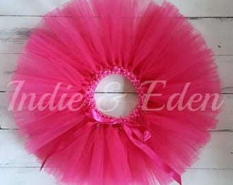 Bright Pink Tutu Hot Pink for girls birthday photo prop cake smash baby toddler skirt