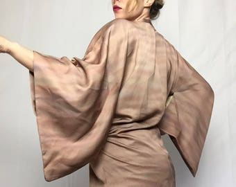 Vintage Michiyuki  Gradient Dusty Rose Gold Short Kimono | Metallic | Disco | Duster | Top | Japanese | Authentic |