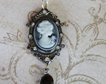 Blue Cameo Necklace